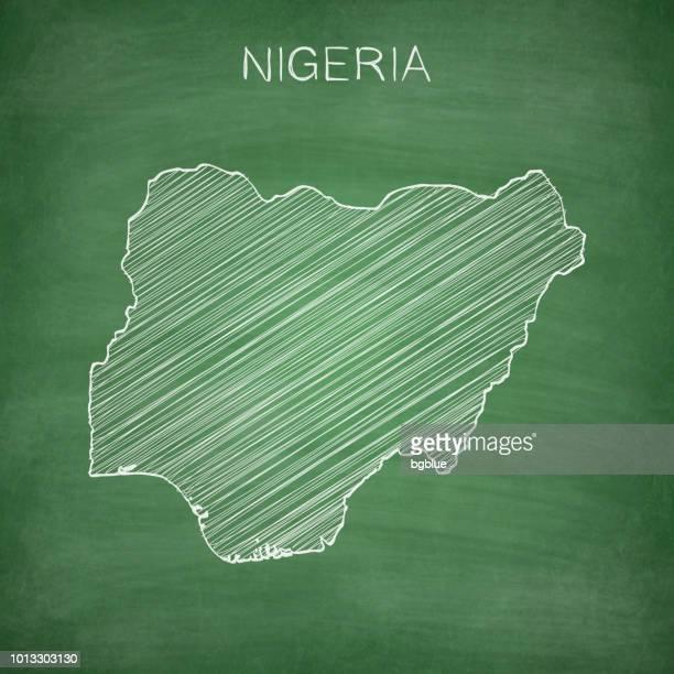 Nigeria map drawn on chalkboard - Blackboard