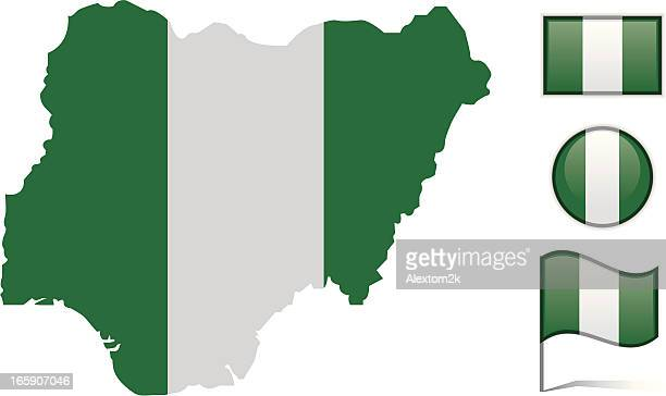 Nigeria map & flag