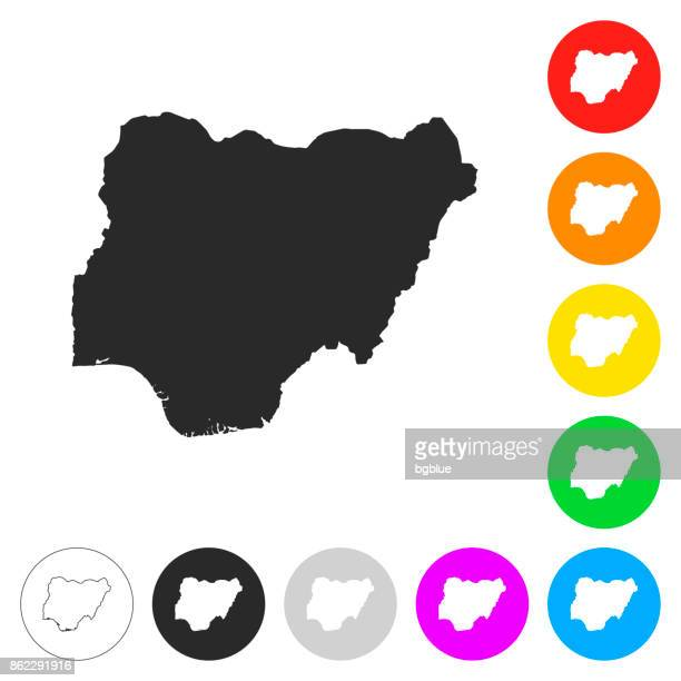 Nigeria map - Flat icons on different color buttons