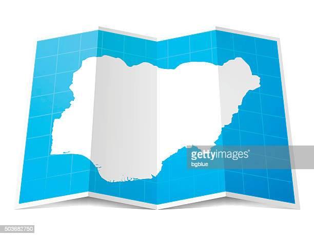 Nigeria Map folded, isolated on white Background