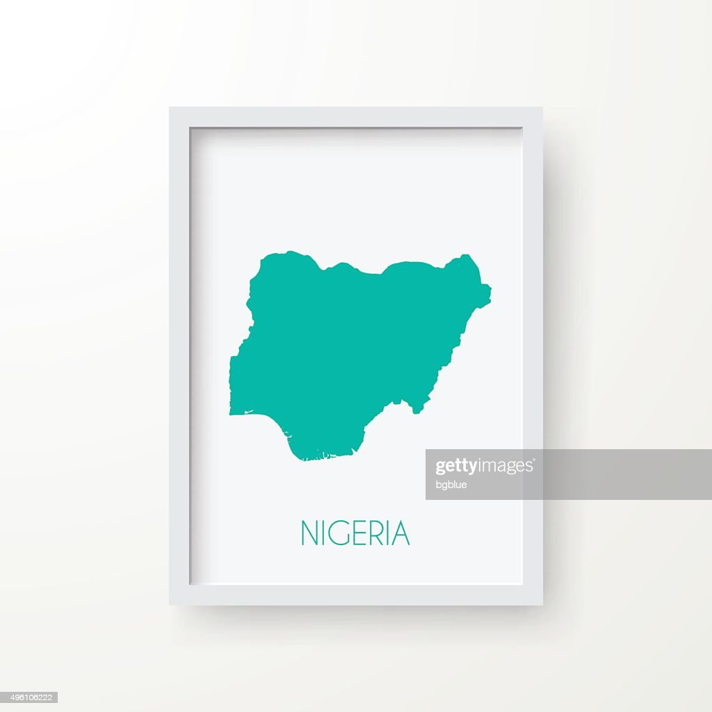 Nigeria Map in Frame on White Background