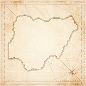 Nigeria map in retro vintage style - old textured paper