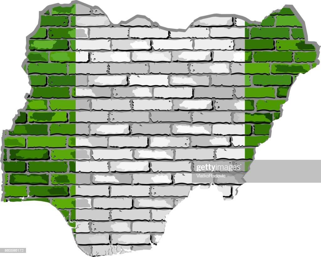 Nigeria map on a brick wall