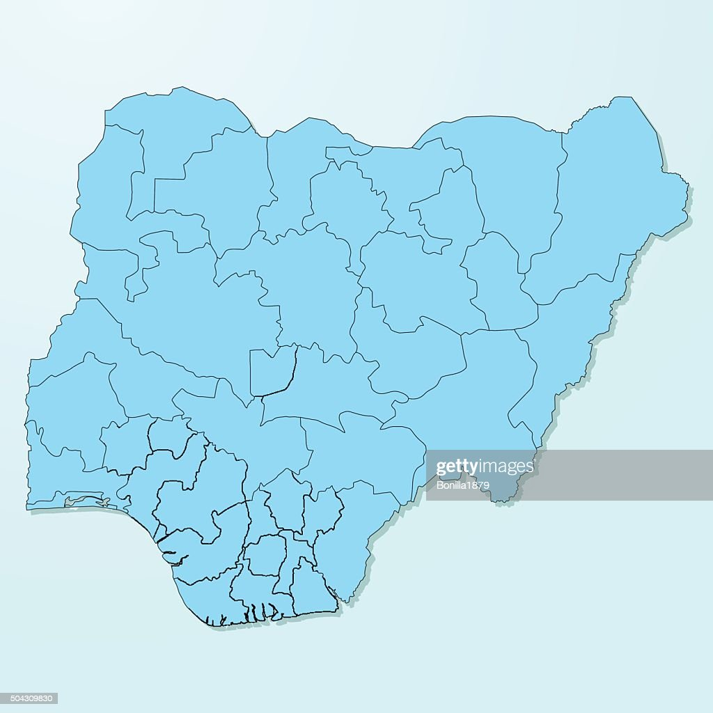 Nigeria map on blue degraded background vector