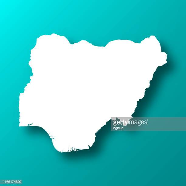 illustrations, cliparts, dessins animés et icônes de carte du nigeria sur le fond vert bleu avec l'ombre - nigeria