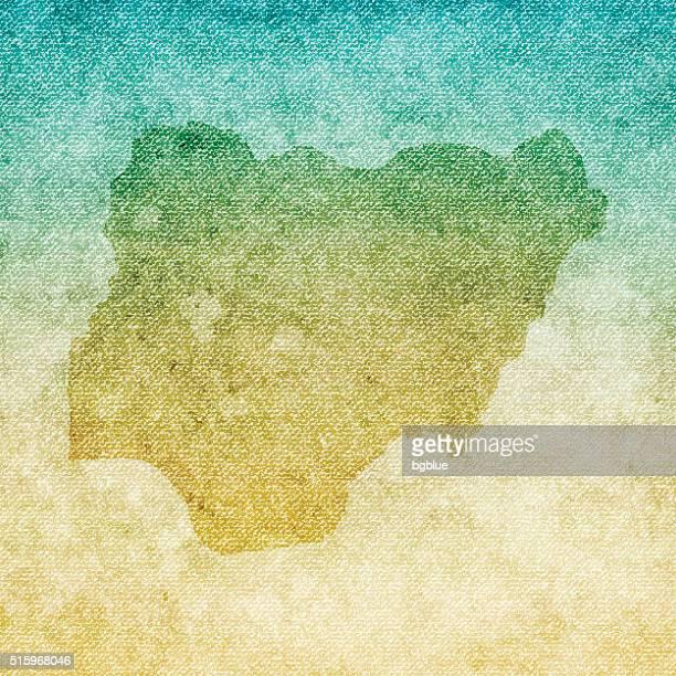 Nigeria Map on grunge Canvas Background