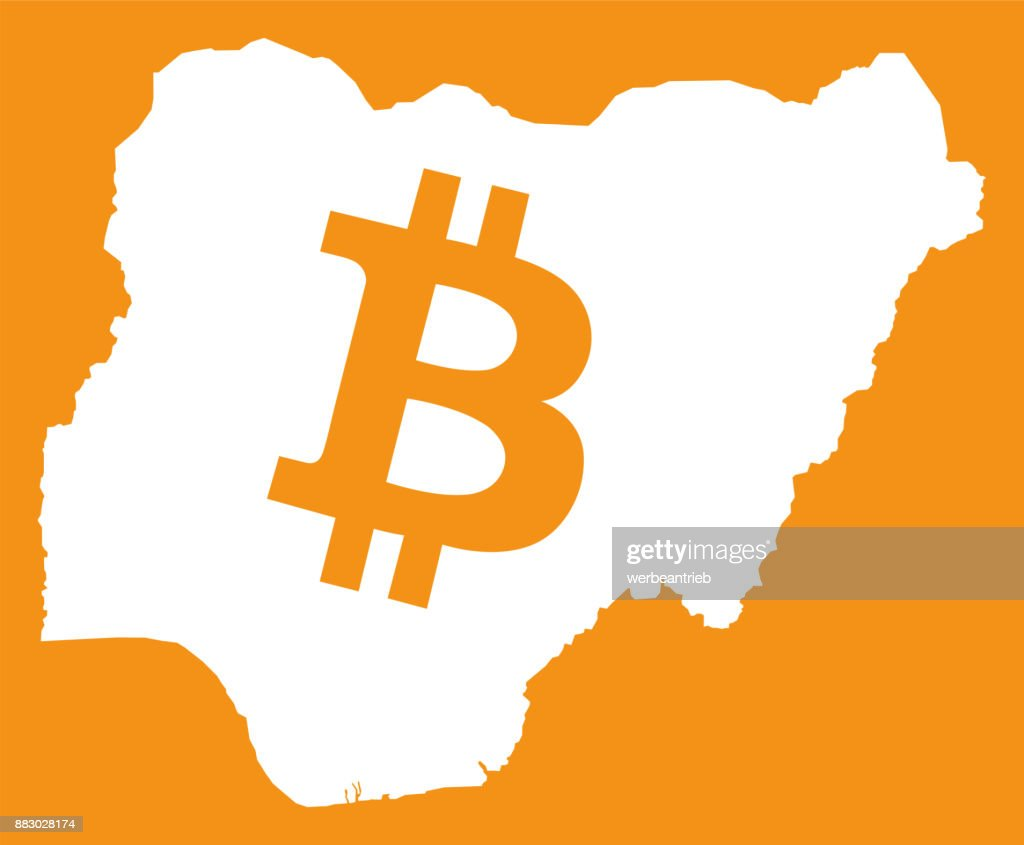 Nigeria Map With Bitcoin Crypto Currency Symbol Illustration Vector