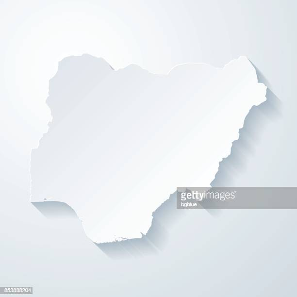 Nigeria map with paper cut effect on blank background