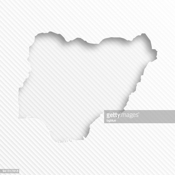 Nigeria map with paper cut on abstract white background