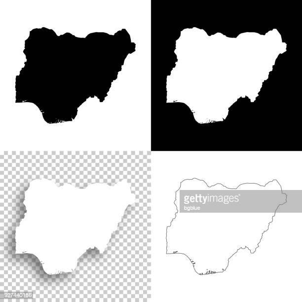 illustrazioni stock, clip art, cartoni animati e icone di tendenza di mappe nigeriane per il design - sfondi vuoti, bianchi e neri - nigeria