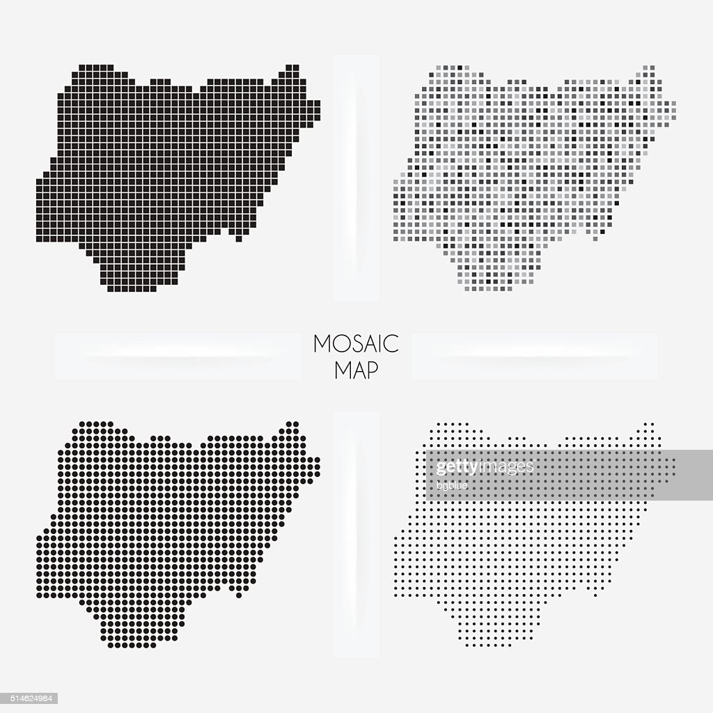 Nigeria maps - Mosaic squarred and dotted