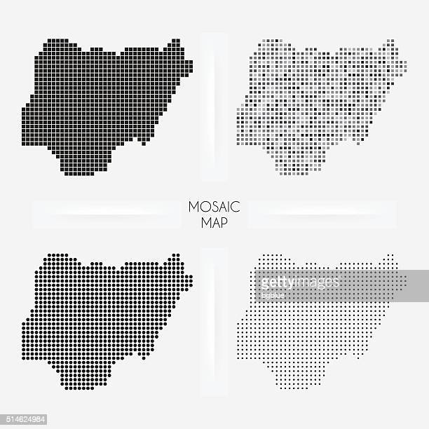 nigeria maps - mosaic squarred and dotted - abuja stock illustrations