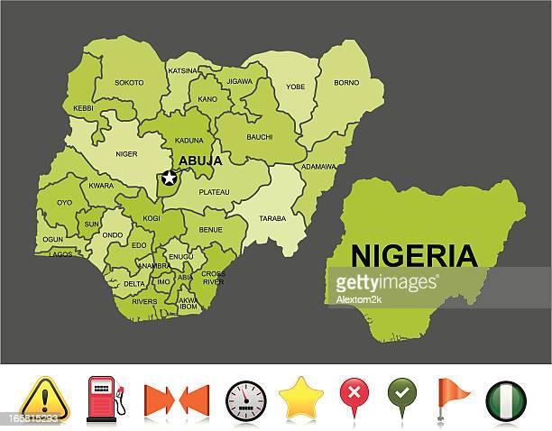 illustrations, cliparts, dessins animés et icônes de nigeria carte de navigation - nigeria