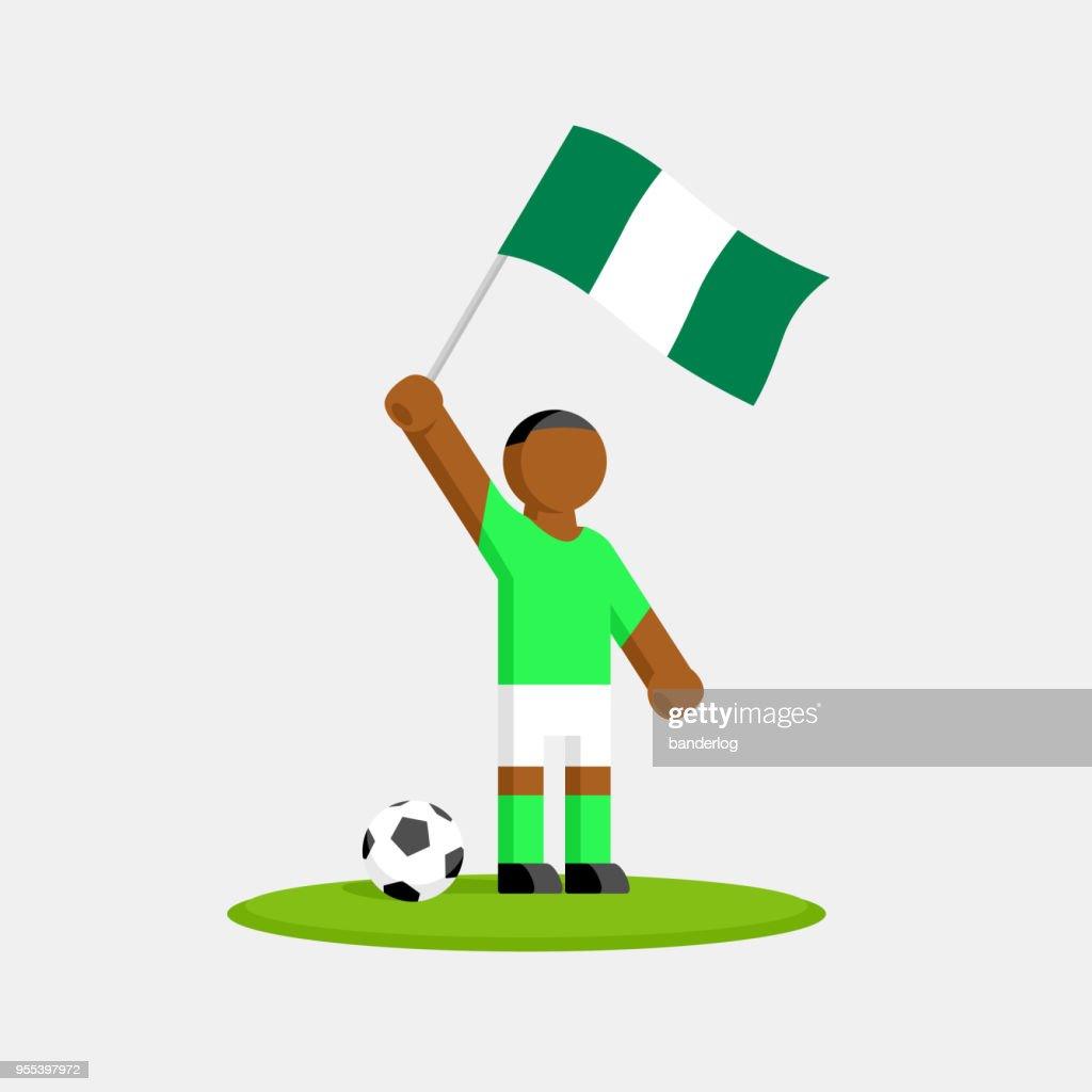 Nigeria soccer player in kit with flag and ball