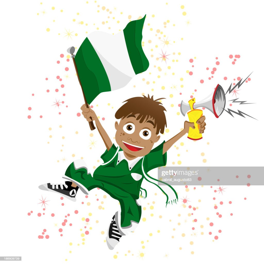 Nigeria Sport Fan with Flag and Horn