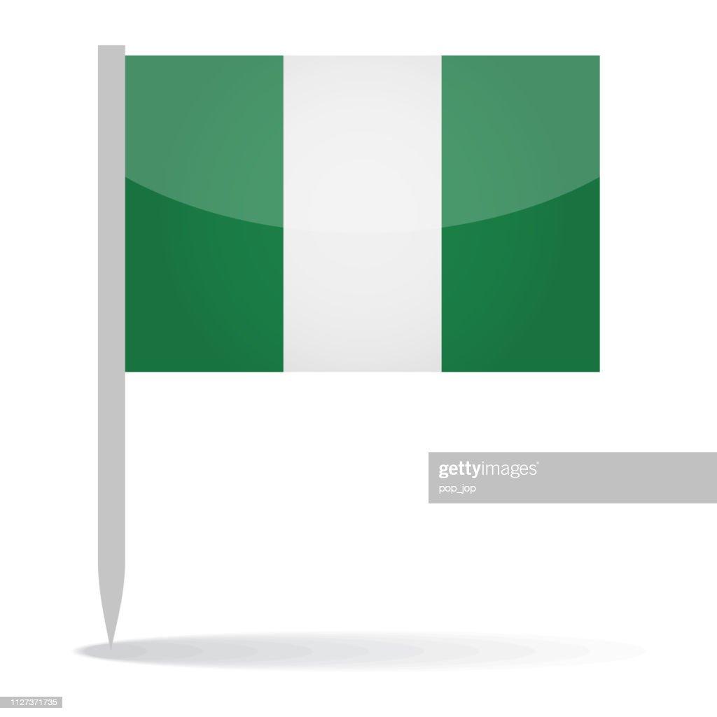 Nigeria - Vector Flag Pin Glossy Icon