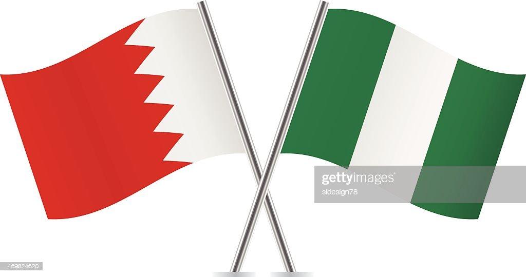 Nigerian and Bahrain flags. Vector.