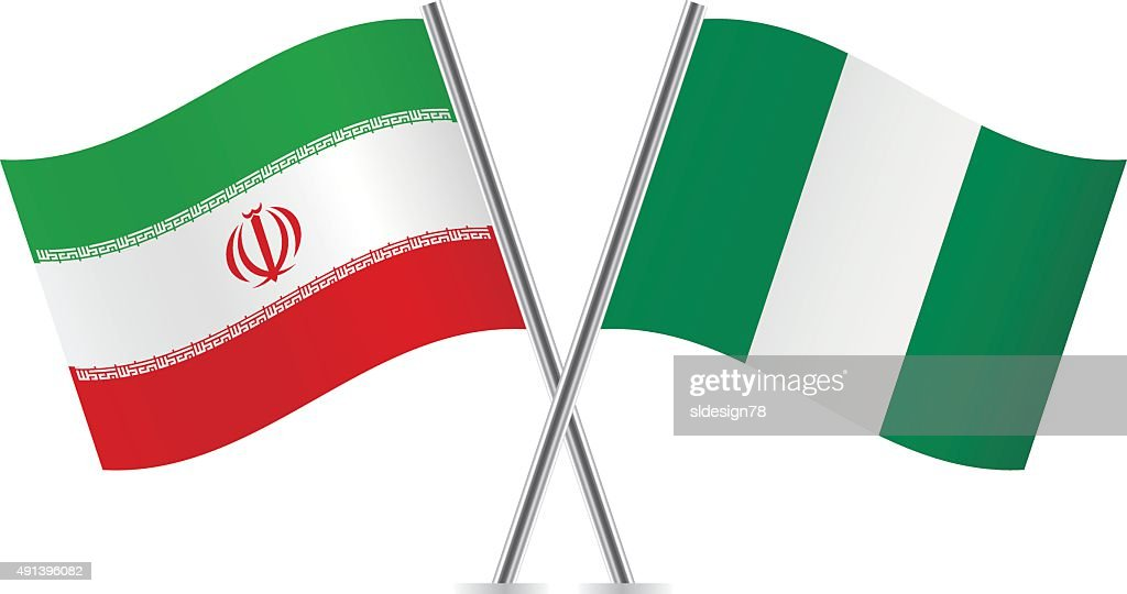 Nigerian and Iranian flags. Vector.
