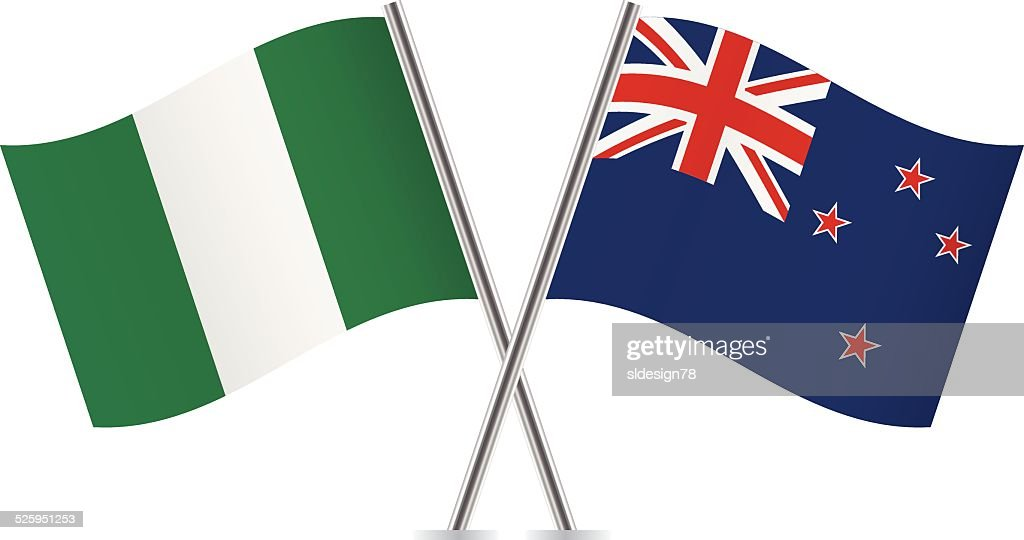 Nigerian and New Zealand flags. Vector.