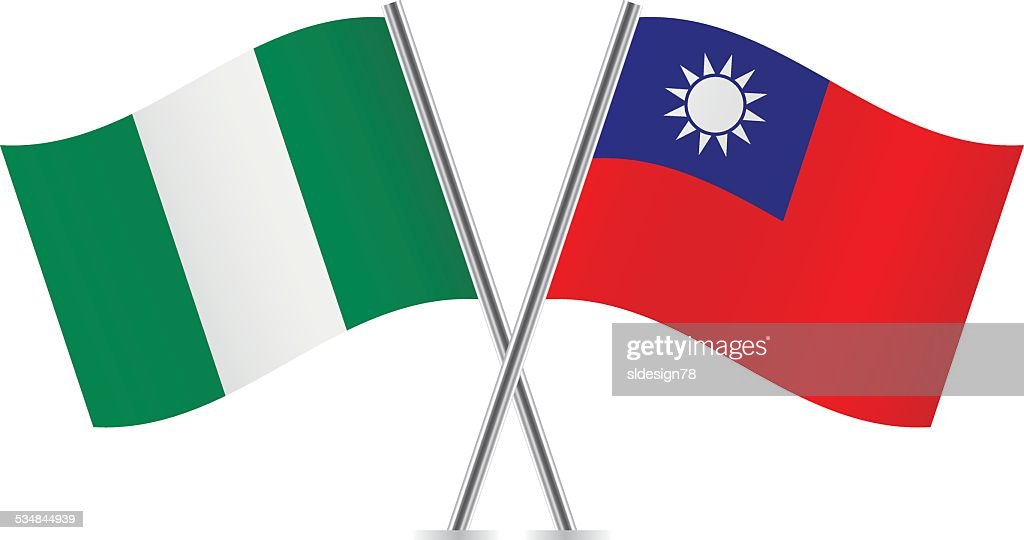 Nigerian and Taiwanese flags. Vector.
