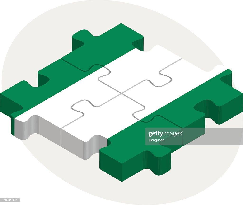 Nigerian Flag in puzzle