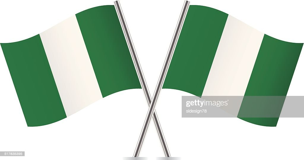 Nigerian flags. Vector.