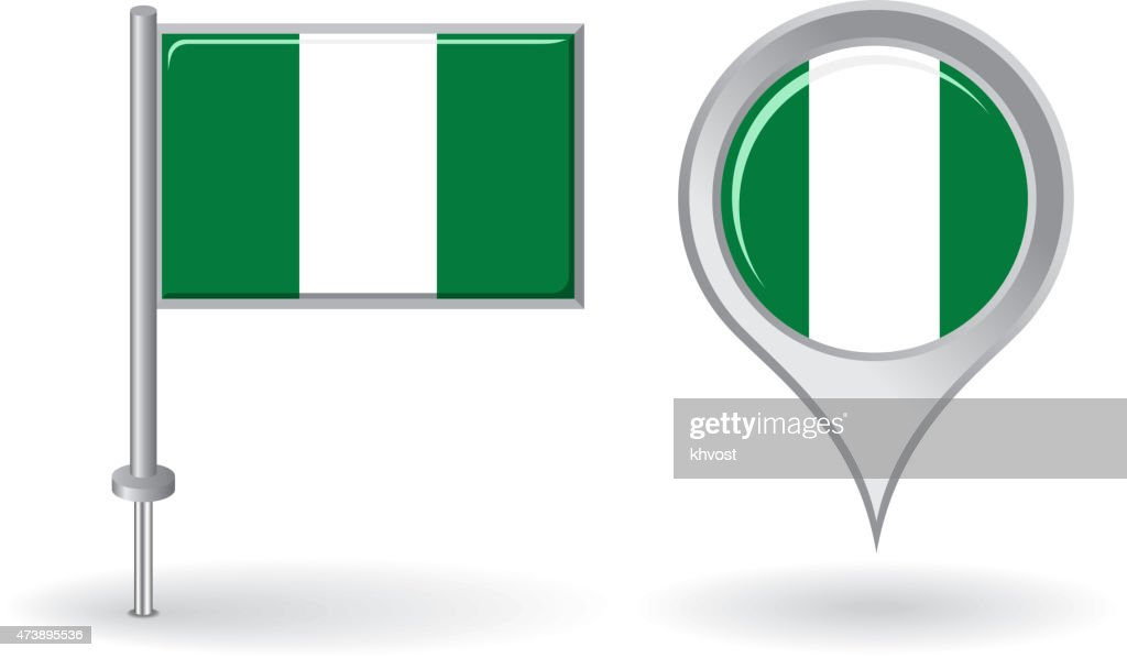 Nigerian pin icon and map pointer flag. Vector