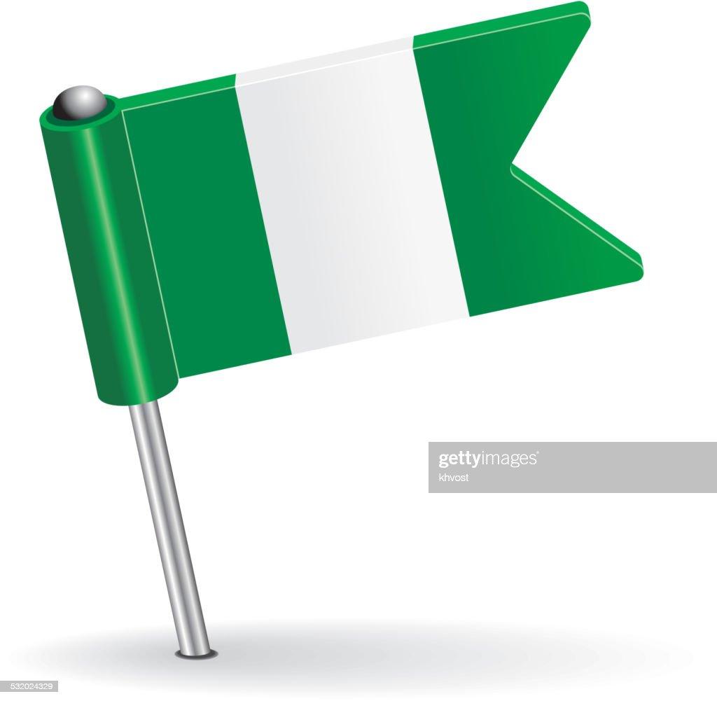 Nigerian pin icon flag. Vector illustration