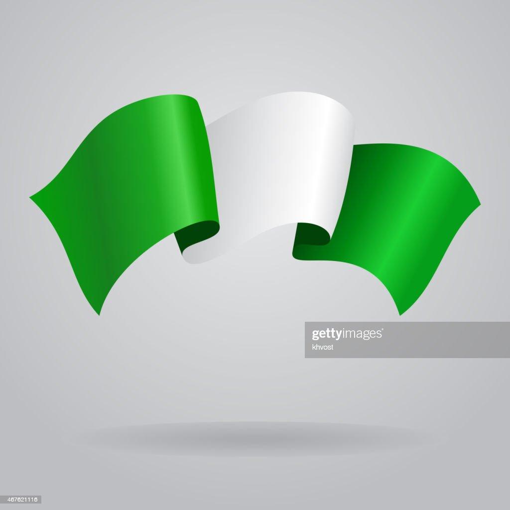 Nigerian waving Flag. Vector illustration