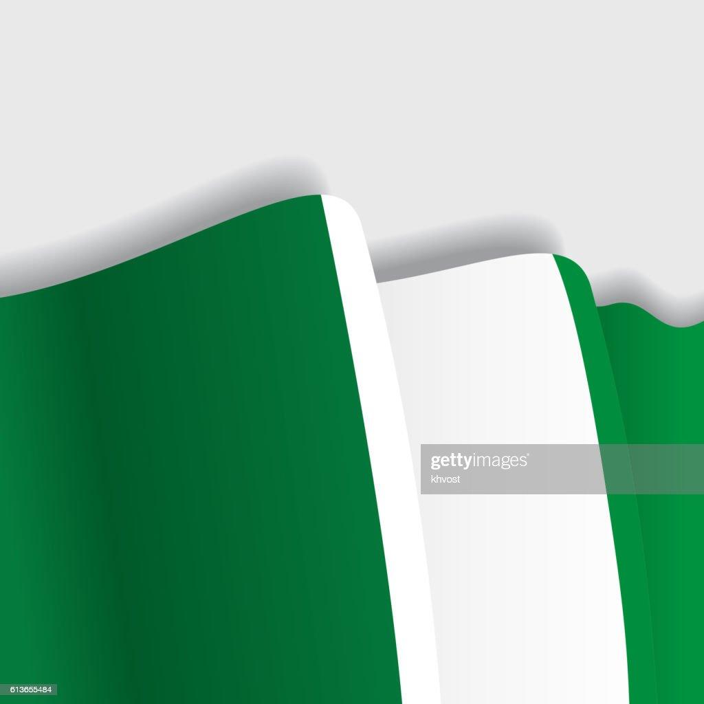 Nigerian waving Flag. Vector illustration.