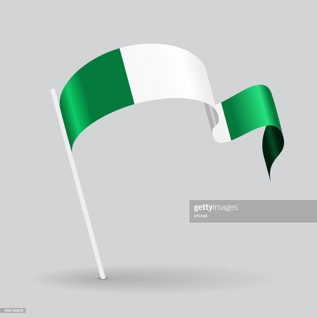 Nigerian wavy flag. Vector illustration.