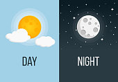 night and day Flat Design