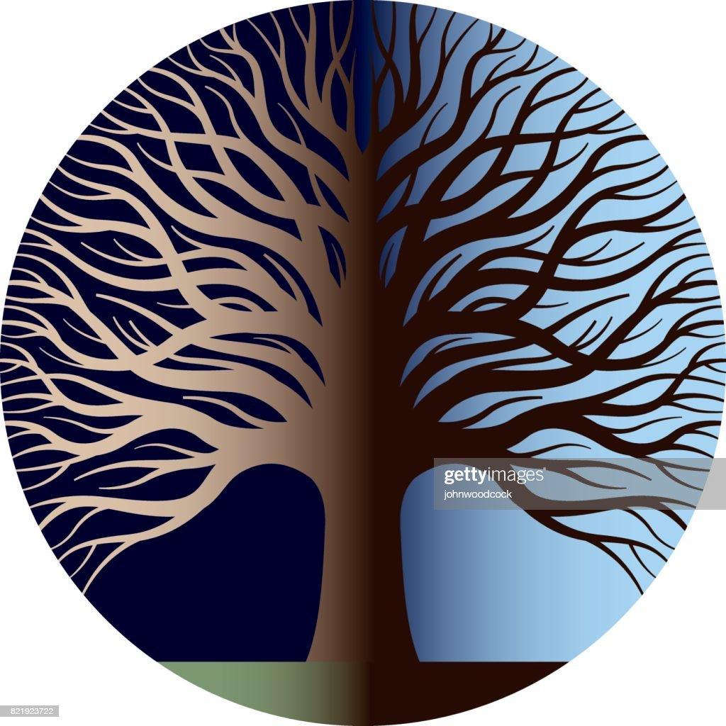 Night and day tree  illustration : stock illustration