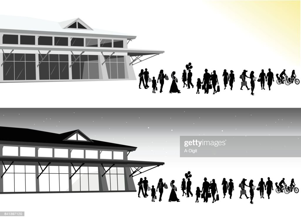 Night And Day Urban Scene : stock illustration