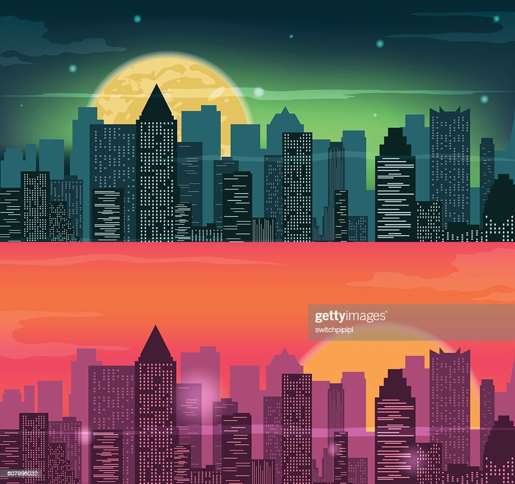 Night and evening city landscape. Skyline with skyscrapers.