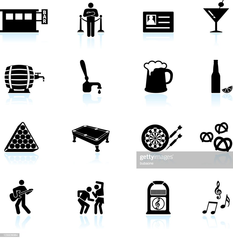 night at the bar black and white vector icon set
