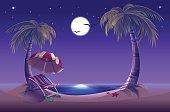 Night beach. Sea, moon, palm trees and sand. Romantic summer