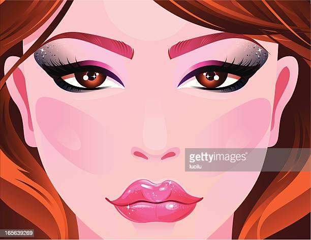 night beauty - eye make up stock illustrations, clip art, cartoons, & icons