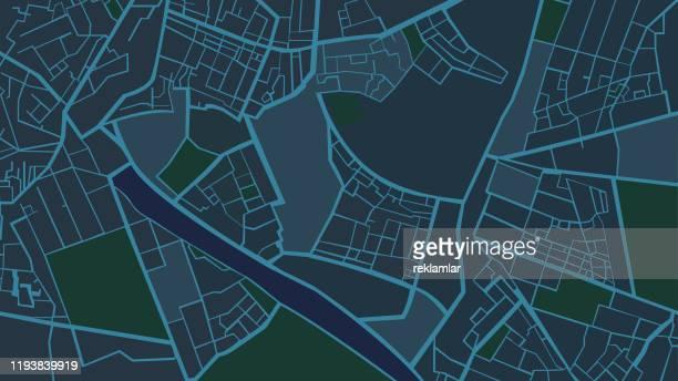night blue structure art map, city street map. - high street stock illustrations