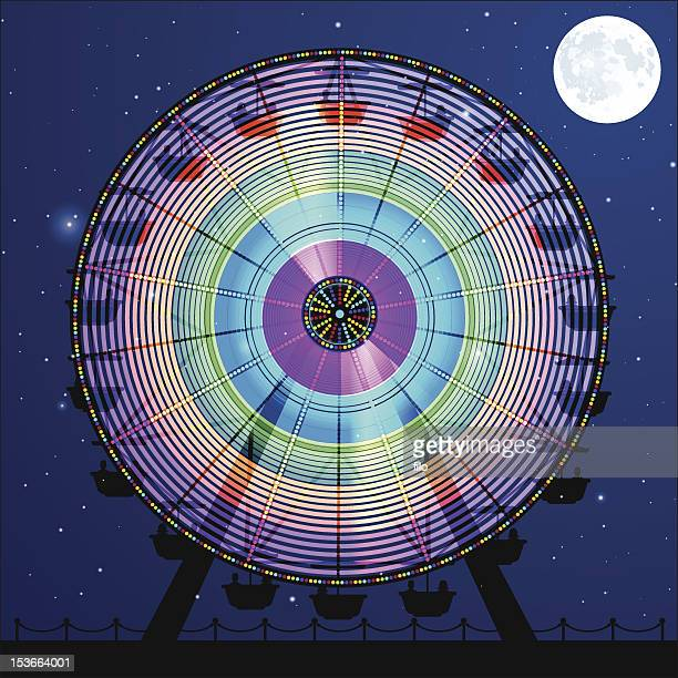 night carnival ferris wheel - ferris wheel stock illustrations, clip art, cartoons, & icons