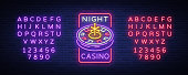Night casino icon,   in neon style. Roulette Neon sign, luminous banner, night billboard, bright advertisement of casinos, gaming machines and gambling. Vector illustration. Editing text neon sign