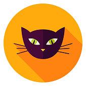 Night Cat Face Circle Icon