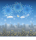 night city background with snow and firework