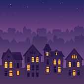 Night city rooftops