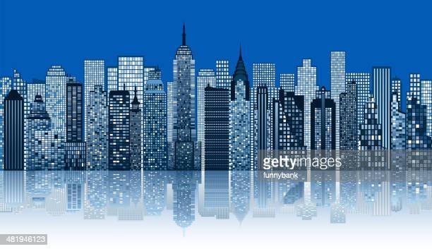 illustrations, cliparts, dessins animés et icônes de silhouette de ville de nuit - gratte ciel