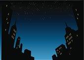 Night City Skyline Background