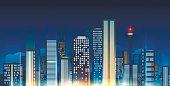 Night city skyline illustration