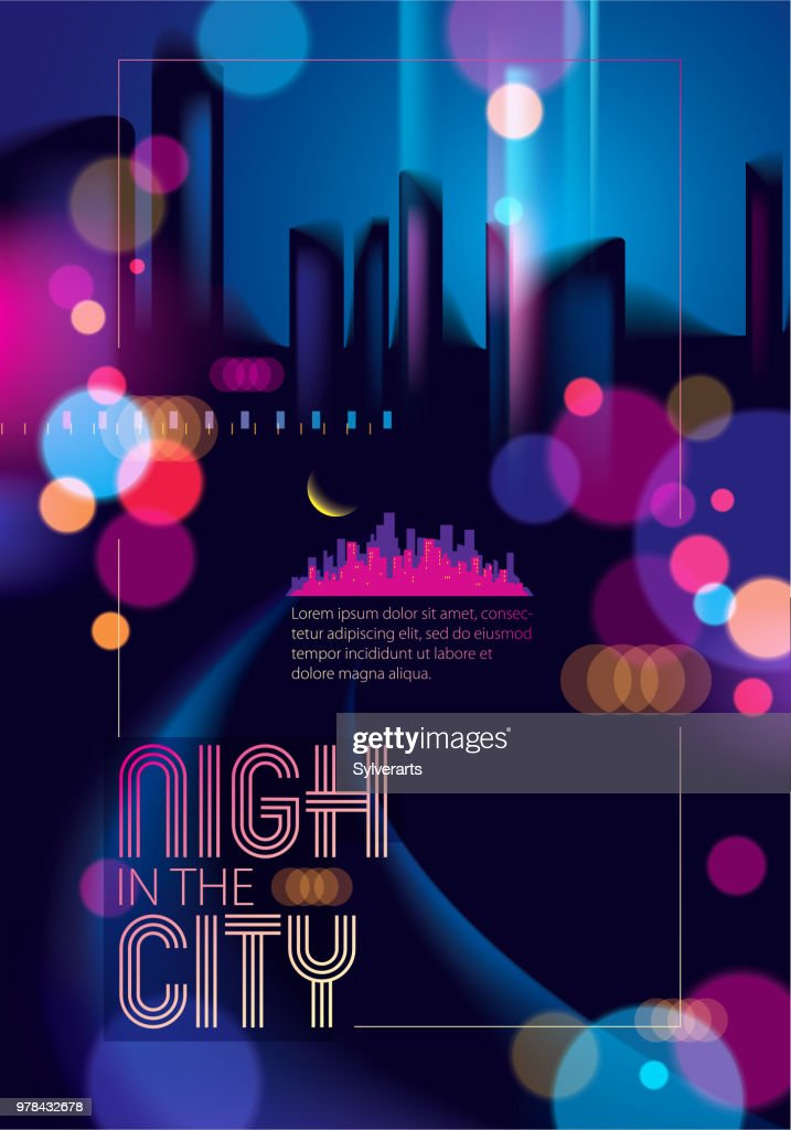 Night city skyline traveling tourist guide book. Brochure, flyer, cover, poster or guidebook template. Vector modern illustration.