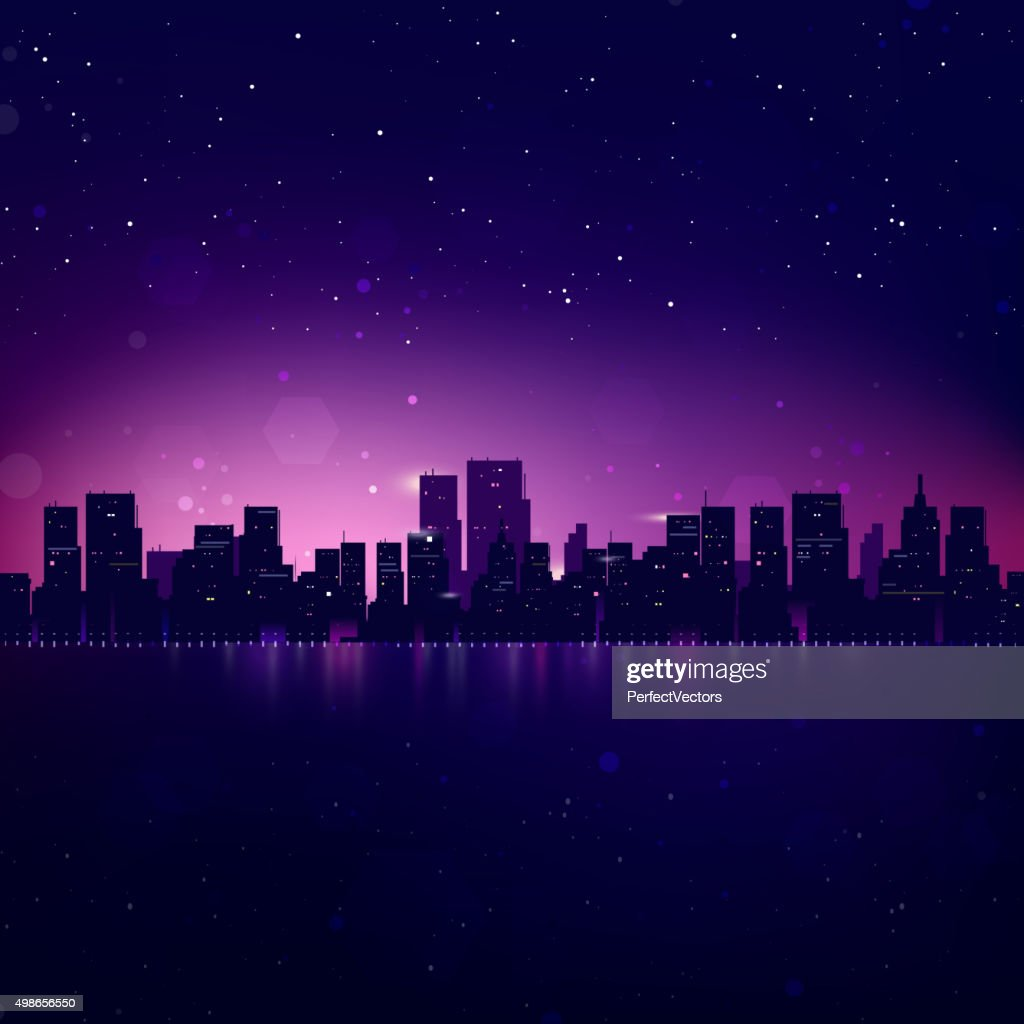 Night City Skyline. Vector Cityscape Background