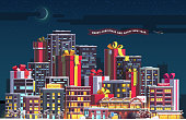 Night city skyline with huge skyscraper sized New Year and Merry Christmas themed gift boxes with ribbon bows. Evening town and presents. Flat isolated vector